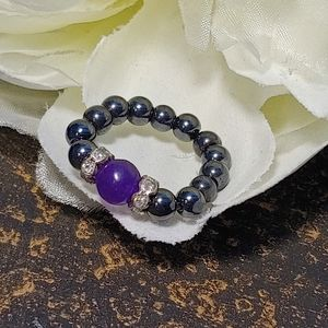 Magnetic Hematite and Purple Stone Stretch Ring